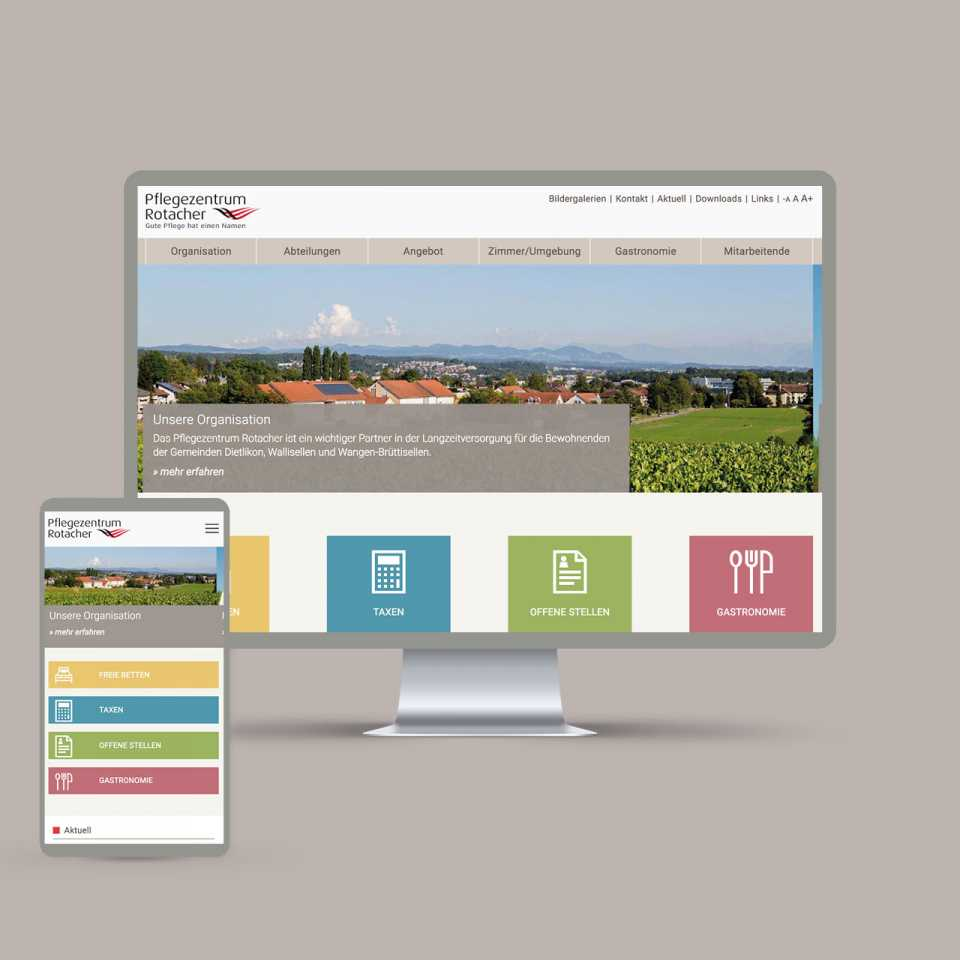 Pflegezentrum Rotacher: Redesign Website