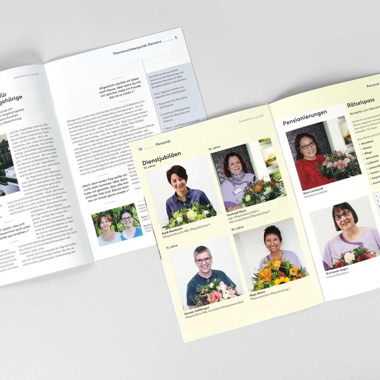 Alterszentrum Schöftland Hausmagazin Birkenblatt