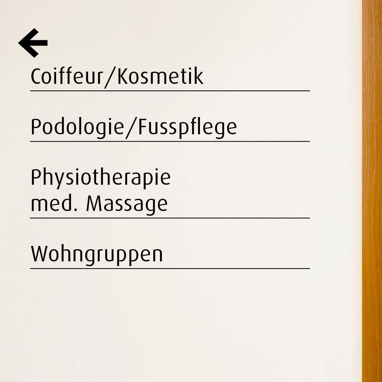 Pflegezentrum Stadtgarten: Signaletik