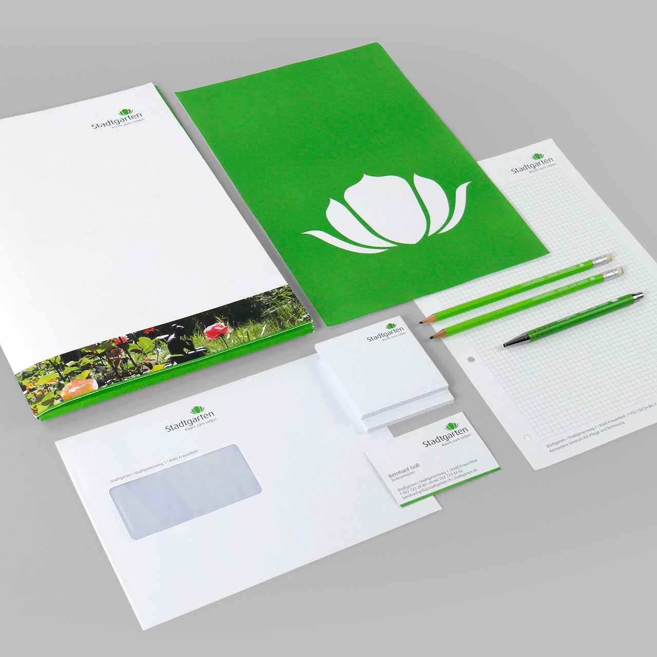 Pflegezentrum Stadtgarten: Corporate Design, Briefschaften