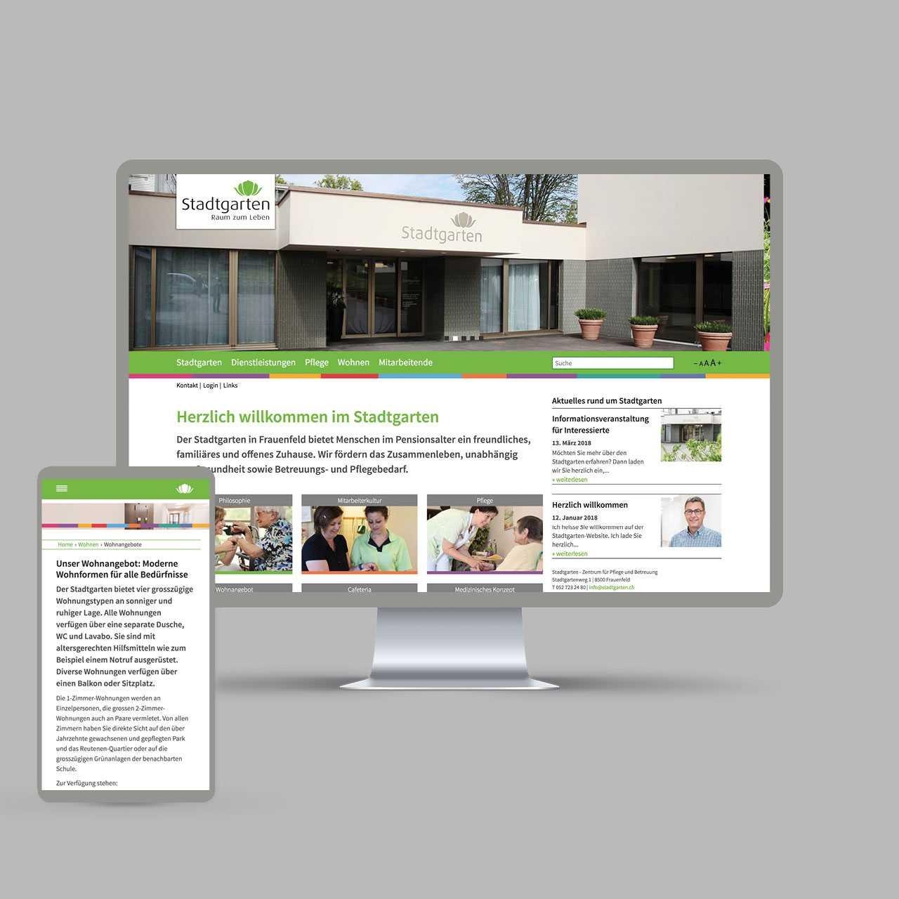 Pflegezentrum Stadtgarten: Corporate Design, Redesign Website