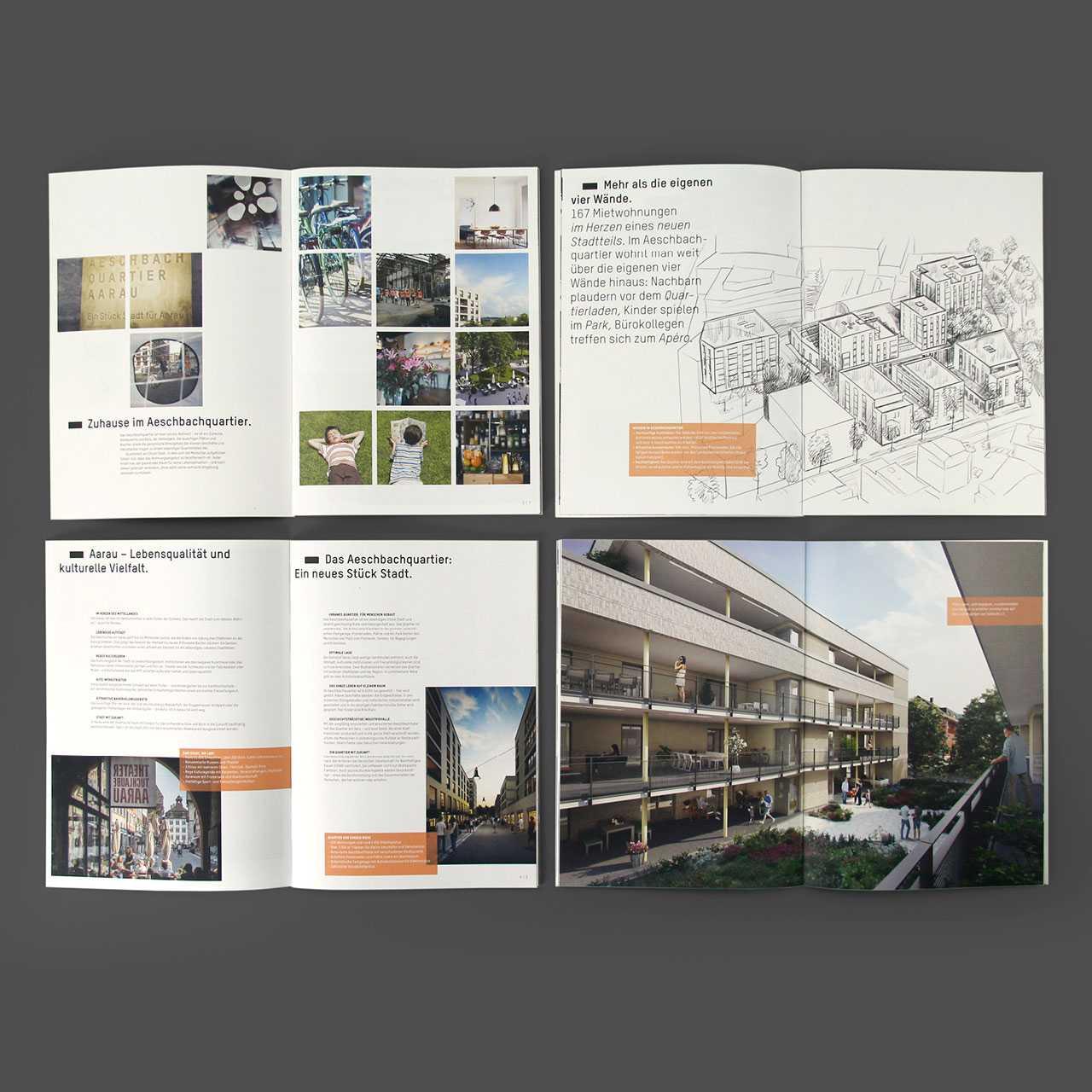 Aeschbachquartier Aarau by Mobimo AG: Printprodukte, Verkaufsbroschüre