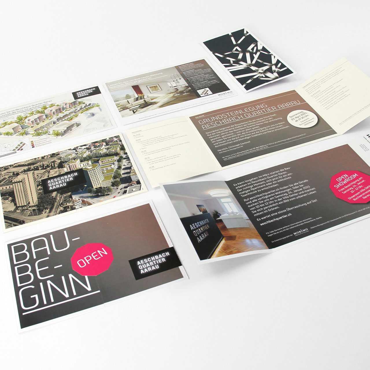 Aeschbachquartier Aarau by Mobimo AG: Printprodukte, Vermarktungsunterlagen, Flyer