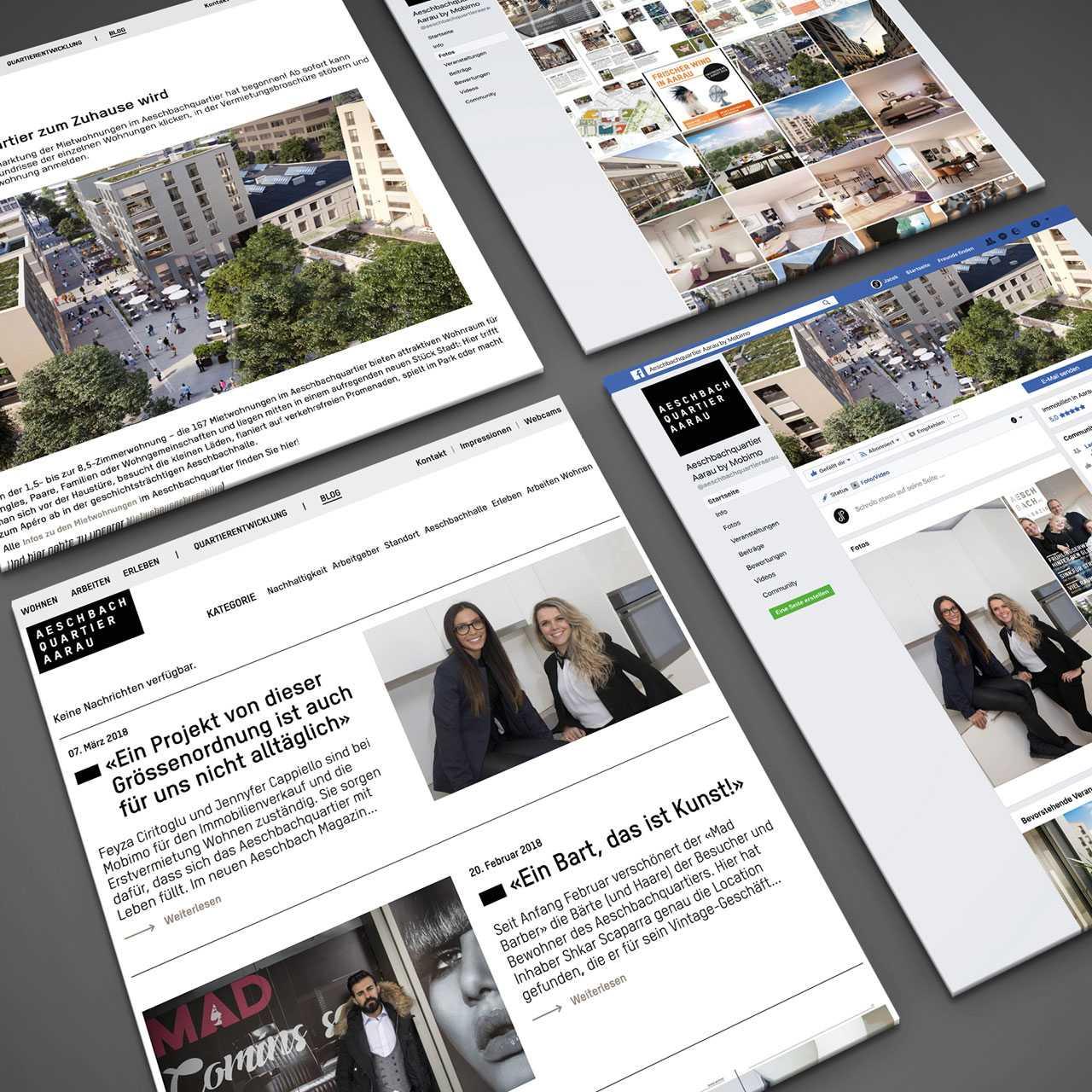 Aeschbachquartier Aarau by Mobimo AG: Website